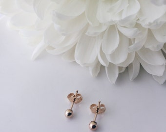 Dainty 14k gold filled ball earrings, everyday jewelry, simple minimal style