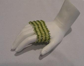Olivine Swarovski crystal bicone netted bracelet