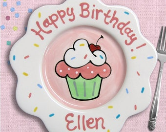 Cake Plate - First Birthday Plate - Birthday Girl - Birthday Plate - Pink Birthday Party -  Pink Cupcake Plate -  Baby Girl Birthday