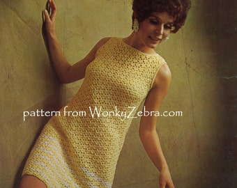 Sleeveless Crochet Dress Vintage Crocheting Pattern PDF 853 from WonkyZebra
