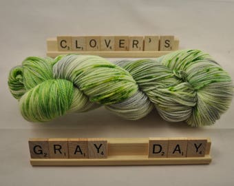 """Hand-dyed yarn, """"Clover's Gray Day"""", variegated, speckled, soft and squishy yarn. Great for socks or shawls. 80/20 Superwash wool/Nylon"""