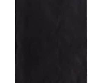 100 Black Paper Bags 6.25 x 9.25 Flat Pinch Bottom Bags , Black Merchandise Bags