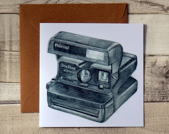 Polaroid 600 Instant Camera Greetings Card // Pencil Drawing // Vintage Camera // Blank Card // Illustration
