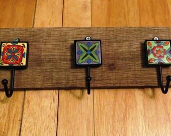 Barnwood and Ceramic (mini) Tiles...key/coat/hat/leash holder