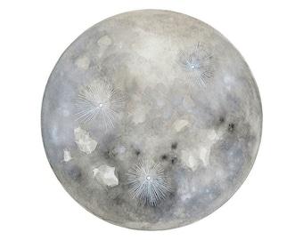 Luna 21 - Archival 8x8 Art Print - Contemporary Minimalist Watercolor Painting - Astronomy, Full Moon - by Natasha Newton