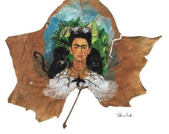 Frida Kahlo PRINT from my hand painted on real maple leaf.  Frida Kahlo painting,  Frida painting,  mexican art, painted leaves, Frida Khalo