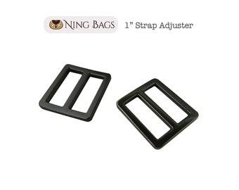 "Set of 6 // 1"" Strap Adjuster, Squared Edges Strap Slider, Rectangular Strap Ring in Gunmetal"