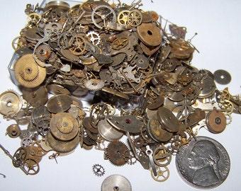 60  Pieces Plus Lot 5g Old Steampunk Watch Parts Vintage Antique Gears Cogs Wheels