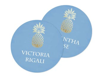Pineapple Party Favor Tags, Gift Tags, Champagne Bridal Shower Decorations, Thank You Tags, Editable Acrobat Name Cards, Seating Cards