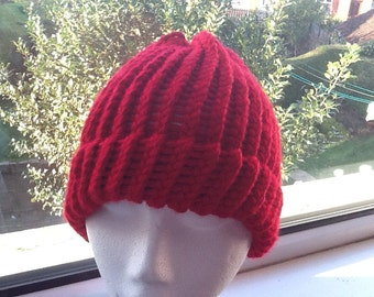 Chunky Red Hat, Chunky Red Beanie, Chunky Wool Hat, Chunky Yarn Beanie, Hand Knit Beanie, Hand Knit Hat, Woolly Hat, Woolly Beanie, Red Hat
