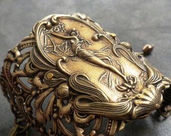 Art Nouveau Jewelry Wide Cuff Bracelet