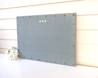Organizer - MAGNETIC Burlap Memo Board - Blue Bulletin Board 15 x 22 inches Hardwood and Brass Upholstery Nail Head Tacks and Button Magnets