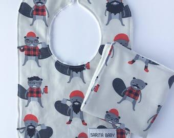 Baby Shower Gift Set - Burly Beavers Baby Bib - Baby Washcloth - Beavers Bib - Washcloth - Gift for baby - Boy Bib - Baby Gift