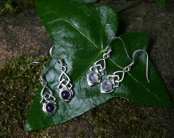 Sterling Silver Celtic Earrings with Moostone or Amethyst