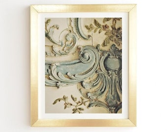 Blue Lace Ready-to-Hang Framed Wall Art, Chateau Versailles French Rococo Palace, Gold White Framed Print, Unique Paris Art Print Home Decor