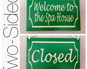 Welcome Custom Spa /  Closed 8x6 (Choose Color) 8x6 Salon Open In Session Do Not Disturb Office In Session Rustic Wood Sign
