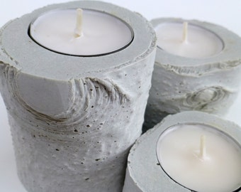 Concrete Candle Holders - Birch Texture - set of three