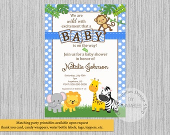 Baby Safari Jungle Animals Baby Shower Invitations, Jungle Baby Shower Invitations, Blue Polka Dots Invitations, Safari Digital Invitations