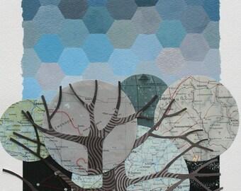 Les vraies Stars est allé Qu'inaperçu I ORIGINAL feutré technique mixte de collage, art géométrique, cartes vintages, fond peint à la main et arbres