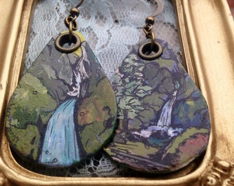 Wahclella Falls - pdx hand-painted earrings - Portland, Oregon waterfall