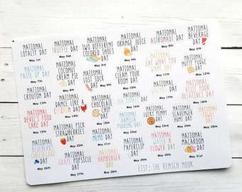 May National Holidays planner stickers - fun holidays -Gift for her - Filofax - Daily Planner - Erin Condren - Happy Planner - dot journal-