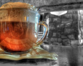 Hot chocolate photo, selective color HDR photograph, Black white and chocolate, fine photography prints, The Ultimate Hot Chocolate