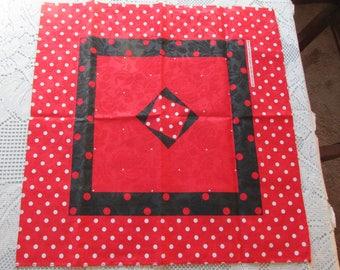 Vintage Polka Dot ~Roses Print Red, Black and White Bandana