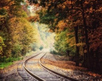 Fall Landscape Print, Autumn Landscape Print, Fall Canvas Art, Autumn Home Decor, Train Tracks, Gold Green Brown, Rustic Landscape Print.