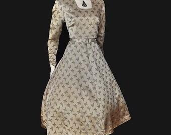 Vintage 50's Novelty Butterfly Print Grey Silk Full Skirt Dress