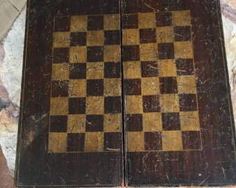 Antique Folding Gameboard Folk Art Checker Board Backgammon Old Paint Original Surface Americana Primitive