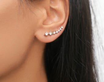 Rhinestone Climber Earrings