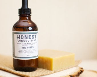 Beard Care Set: THE PINES Beard Oil & Shampoo Bar made All Natural