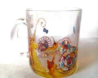 Vitrage glass mug,snail glass mug,patrik's day gift, original gift,Tea cup, glass cup , personalized hand painted glass mug, handmade cup