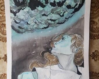 Original watercolor painting-Underwater dreaming