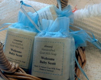 Baby Shower Favors, goat milk soap, made in Vermont 2 oz bars