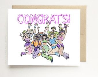 Graduation Card 80s Aerobics Card, Congrats, Funny Graduation Card, Congratulations Card, Funny Graduation Card, Graduation Gift Cards