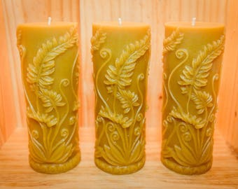 Beeswax Rustic Fern Cylinder Candle (18.10 cm x 6.35 cm)
