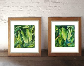 Leaves Watercolor Painting Green wall art Set of 2 Art  Original watercolor painting Green Watercolor Leaf Botanical artwork