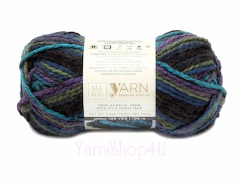NORTHERN LIGHTS Ombre Bulky Yarn. All Things You Premium Acrylic. Dark Ombre with Blue, Purple and Green. A favorite! Same as Charisma Brand