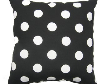 Black White Pillow, 20x20 inch, Indoor / Outdoor Decorative Pillow Cover, Black Pillow, Polka Dot Pillow, Polka Dot Black, Deck Patio Pillow