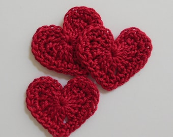 Trio of Crocheted Hearts - Red Hearts - Cotton Hearts - Crocheted Heart Embellishments - Crocheted Heart Appliques - Set of 3
