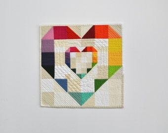 Heart Quilt, Heart Wall Hanging, Mini Quilt, Rainbow Heart, Rainbow Wall Hanging, Valentines Day