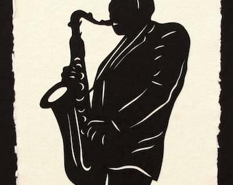 JOHN COLTRANE Papercut - Hand-Cut Silhouette