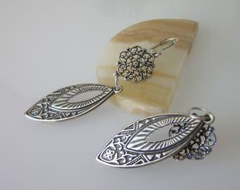 Celtic Chandelier Earrings, Brass Earrings, Antiqued Silver & Black, Marquise Shaped, Floral Filigree, Brass Metal Stampings, Metal Earrings