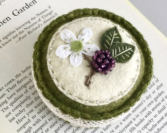 Embroidered Wool Felt Pincushion with Flower and Beaded Blackberry
