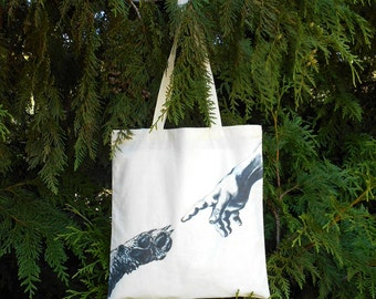 Dog Lover Tote Bag - Dog Paw & Human Hand Illustrated Tote Bag - Dog Owner - Organic Cotton Tote Bag - Gift for Dog Lover