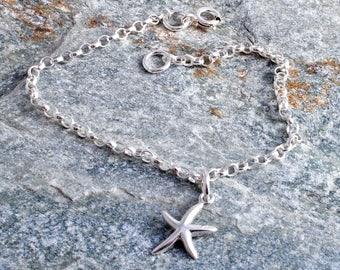 Starfish ankle bracelet sterling silver 925 charm chain ankle bracelet star fish