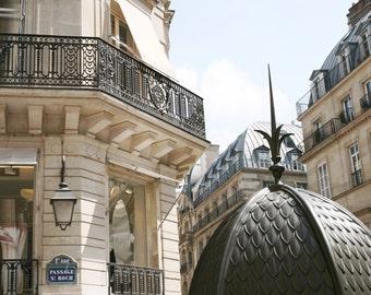 Paris Photo - Architecture Photograph - Passage St. Roch - Elegant Parisian Neutral Wall Decor - French Decor Paris Print  Paris Art