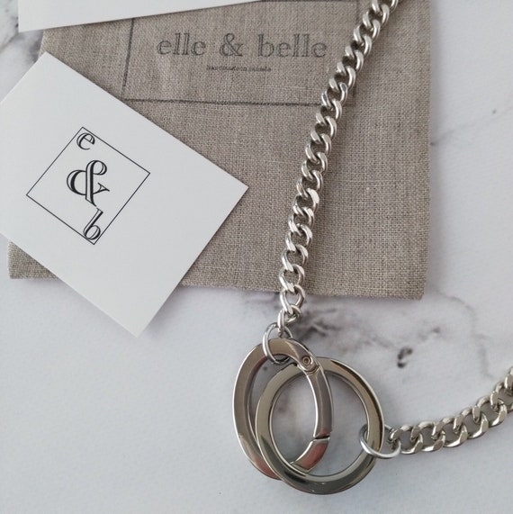Silver Chain Necklace with Chunky Silver Rings and Curb Chain