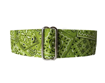 Bandana Martingale Dog Collar, Lime Martingale Collar, Bandana Dog Collar, Lime Green Dog Collar, Martingale Dog Collar Greyhound